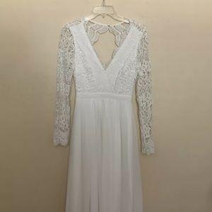 "Lulus ""awaken my love"" white lace dress Small"